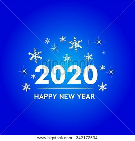 Logo 2020 In White With A Blue Background, New Year 2020, Text 2020 For Calendar Of New Years, Happy