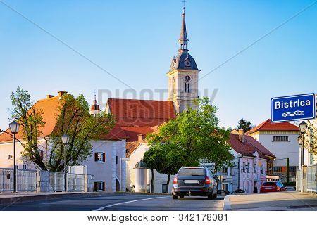 Car On Road At Saint Bartholomew Parish Church Slovenska Bistrica