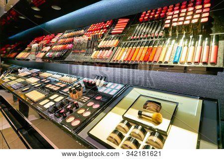 HONG KONG, CHINA - CIRCA JANUARY, 2019: makeup products on display at Chanel store in New Town Plaza shopping mall
