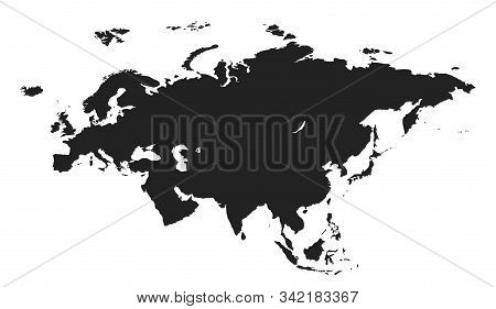 Eurasia Map Icon. Isolated Vector Simple Style World Continent Geographic Template