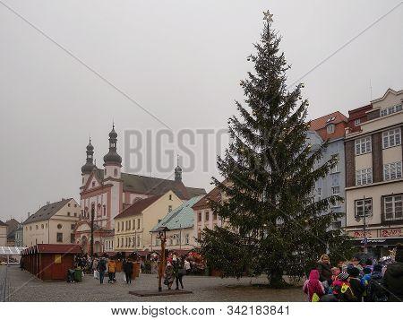 Chomutov, Czech Republic - December 17, 2019: Namesti 1. Maje Square During Christmas