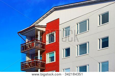 Fragment Of Modern Residential Apartment And Flat Building Exterior Reflex