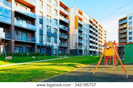 Apartment Residential House Facade Architecture With Children Playgrounds Reflex
