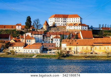 Cityscape Of Ptuj Castle With Old Town Drava River Slovenia