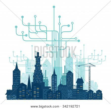 City, Business And  Modern Internet Environment. Hightech Electronic, Microchips, Icons And Communic
