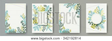 Tropical Herb Twigs, Tree Branches, Flowers Floral Invitation Cards Set. Bouquet Wreath Elegant Card