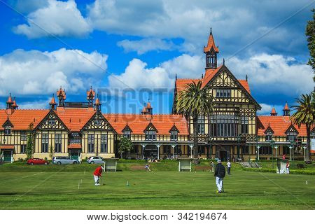 Rotorua, New Zealand - October 30th 2016: View Of The Rotorua Museum, Previously The Bath House, Fro