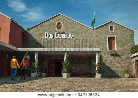 Bento Goncalves, Brazil - July 13, 2019. Rustic Facade Of Don Laurindo Winery Building And Customers
