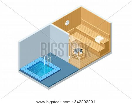Isometric Sauna Interior And Cold Pool. Empty Finnish Sauna, Classic Wooden Sauna. Wooden Benches An