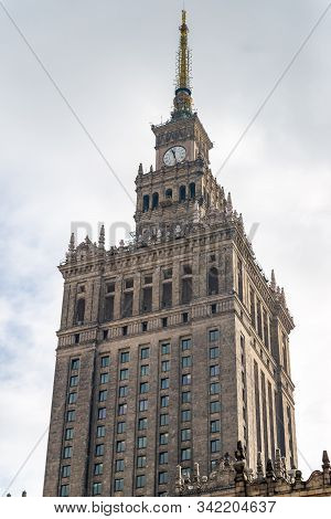 Warsaw Poland. February 18, 2019. Tower Of The Palace. The Palace Of Culture And Science In Warsaw P
