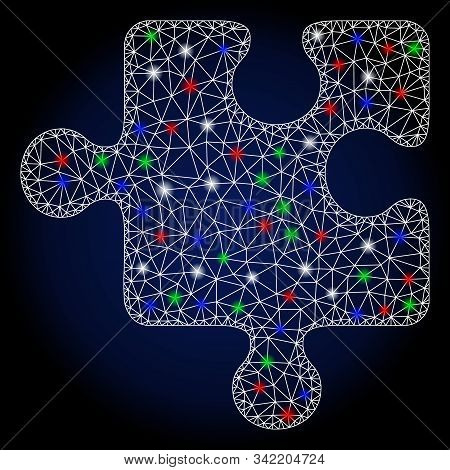 Flare White Mesh Puzzle Detail With Sparkle Effect. Abstract Illuminated Model Of Puzzle Detail. Shi