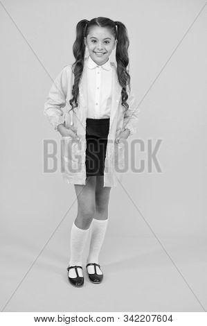 Waterproof Accessories Make Rainy Fall Day Cheerful And Pleasant. Schoolgirl In Green Cloak. Waterpr