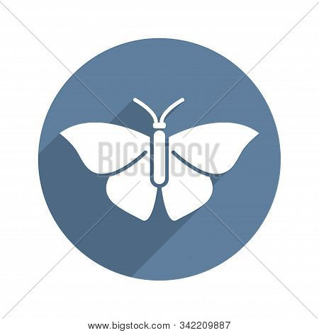 Butterfly Circle Icon Flat With Long Shadow. Biology, Science, Entomology, Zoology. Vector Illustrat