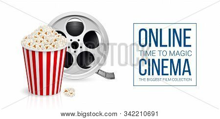 Cinematograph Concept Banner Design Template With Film Reel And Popcorn In The Striped Bag Over Whit