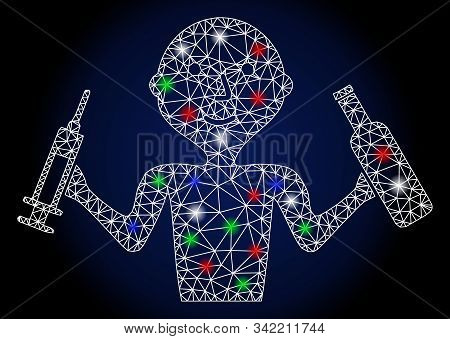 Glowing White Mesh Addict Man With Glitter Effect. Abstract Illuminated Model Of Addict Man. Shiny W