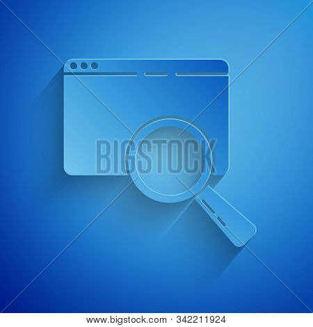 Paper Cut Search In A Browser Window Icon Isolated On Blue Background. Paper Art Style. Vector Illus