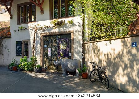 Basel, Switzerland - April 17, 2019. Picturesque Historical Neighborhood In The Spring. Old House De
