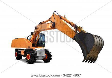 Orange Execabator In Motion Over White Background