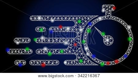 Glowing White Mesh Fast Stopwatch With Sparkle Effect. Abstract Illuminated Model Of Fast Stopwatch.