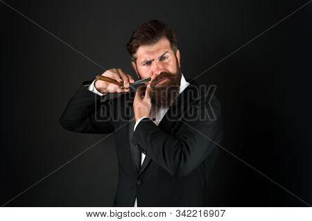 Beard Is Over. Brutal Businessman Shave With Razor. Bearded Man With Classic Shave. Shave Barbershop
