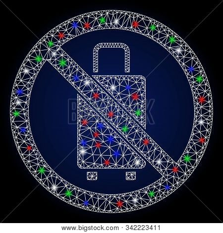 Bright White Mesh No Baggage With Glitter Effect. Abstract Illuminated Model Of No Baggage. Shiny Wi