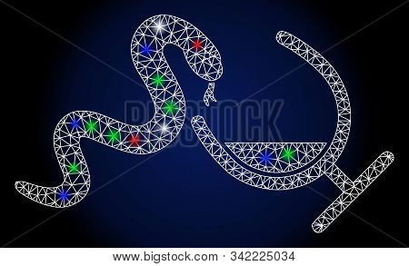 Flare White Mesh Snake Toxin With Glow Effect. Abstract Illuminated Model Of Snake Toxin. Shiny Wire