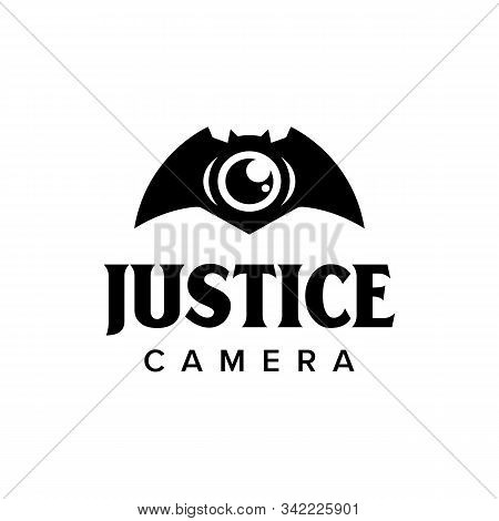 Justice cctv camera logo iconic. Camera bat eye. Branding for website, security company, cctv camera, detective, law, home protection, surveillance systems, etc. Isolated designs inspiratiration