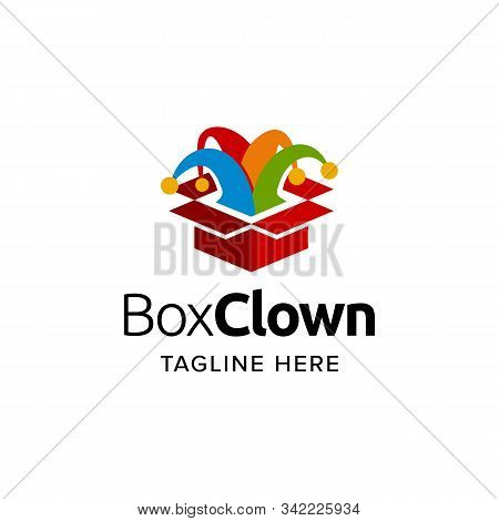 Box Jester Clown Logo Iconic. Branding For Kids Birthday Party, Festival, Carnival, Toys, Perty Orga