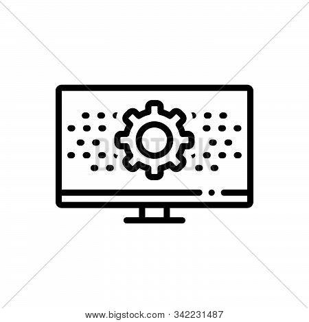 Black Line Icon For Programmatic Technology Digital Setting App Software Monitor