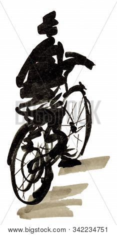 Bike And Cyclist Hand Drawn Marker Sketch Isolated On White Background. Template For Drawing аnd Sce