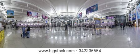 New York, Usa - October 7, 2017: People Ready For Check In At Terminal 4 In Jfk Airport, New York. I