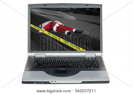 Christmas with Santa Claus. Santa Claus is shot and killed in a Drive By Shooting. Dead Santa Claus in the street with police do not cross caution tape and police chalk outline. Sad Christmas.