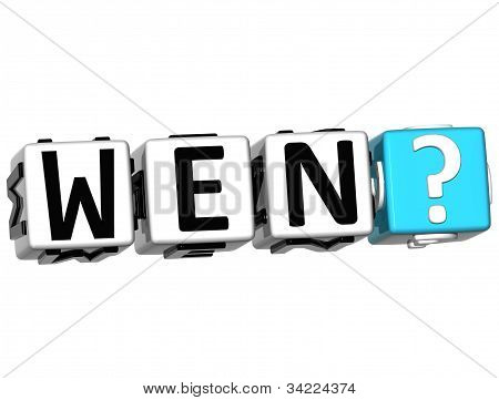 3D German Question Button Click Here Block Text over white background poster