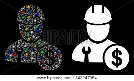 Glossy Mesh Worker Salary Icon With Glare Effect. Abstract Illuminated Model Of Worker Salary. Shiny