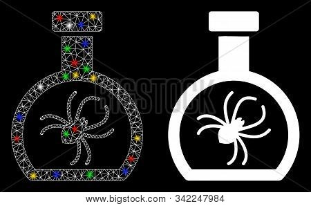 Glossy Mesh Parasite Container Retort Icon With Glow Effect. Abstract Illuminated Model Of Parasite