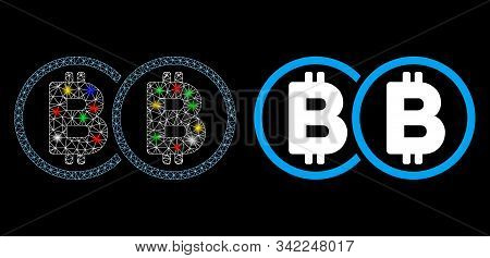 Glowing Mesh Double Bitcoin Icon With Sparkle Effect. Abstract Illuminated Model Of Double Bitcoin.