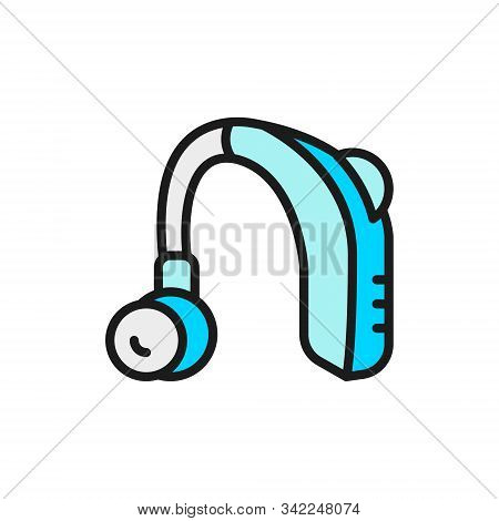 Hearing Aid Receiver In Ear Canal Flat Color Line Icon.