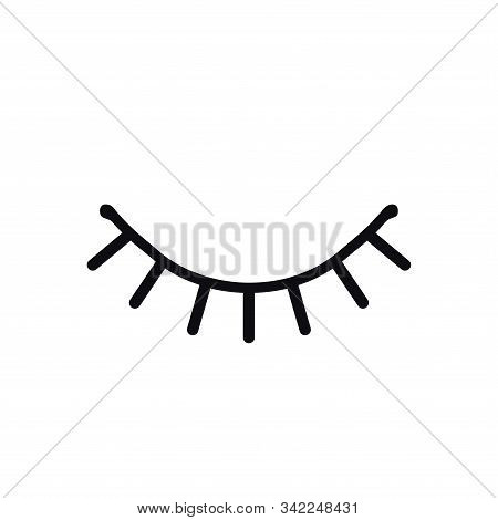 Closed Eye Line Icon On White Background. Look, See, Sleep, Wink Sign And Symbol. Vector Linear Grap