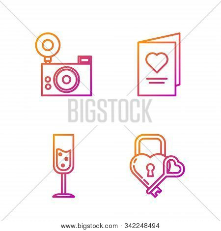 Set Line Castle In The Shape Of A Heart And Key, Glass Of Champagne, Photo Camera And Valentines Day