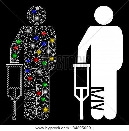 Flare Mesh Broken Leg Patient Icon With Glow Effect. Abstract Illuminated Model Of Broken Leg Patien