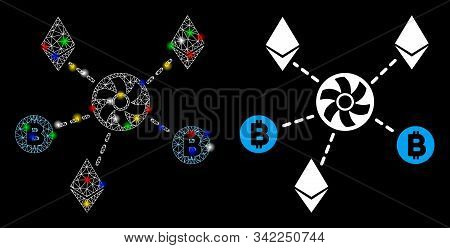 Glowing Mesh Cryptocurrency Blender Rotor Icon With Lightspot Effect. Abstract Illuminated Model Of