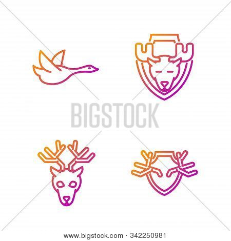 Set Line Deer Antlers On Shield, Deer Head With Antlers, Flying Duck And Moose Head On Shield. Gradi