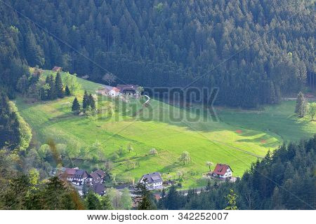 Picturesque European Landscape Valley With Villages And Houses In The Mountains Schwarzwald, Germany