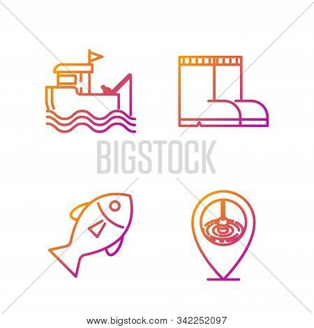 Set Line Location Fishing, Fish, Fishing Boat With Fishing Rod On Water And Fishing Boots. Gradient