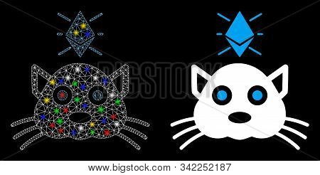 Glossy Mesh Ethereum Crypto Kitty Icon With Glare Effect. Abstract Illuminated Model Of Ethereum Cry