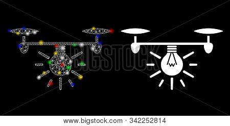 Glowing Mesh Copter Illumination Icon With Sparkle Effect. Abstract Illuminated Model Of Copter Illu