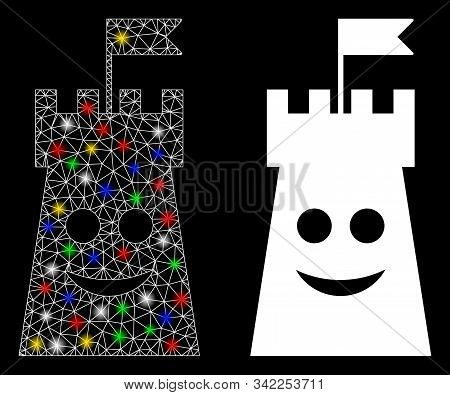 Glowing Mesh Happy Bulwark Tower Icon With Glare Effect. Abstract Illuminated Model Of Happy Bulwark