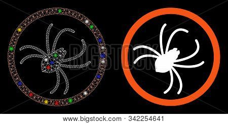 Glowing Mesh Spider Icon With Glow Effect. Abstract Illuminated Model Of Spider. Shiny Wire Carcass