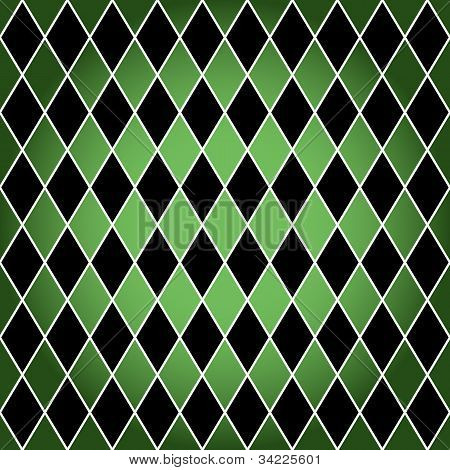 Seamless Harlequin Pattern-green And Black