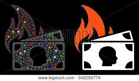 Bright Mesh Banknotes Fire Disaster Icon With Glitter Effect. Abstract Illuminated Model Of Banknote